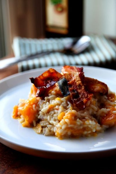 Pumpkin Risotto With Crispy Prosciutto | DonalSkehan.com, Creamy risotto cooked up with Autumn flavours!