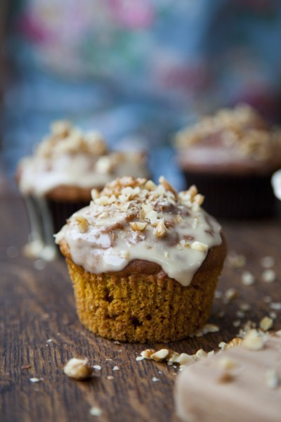 Maple Glazed Spiced Pumpkin Muffins
