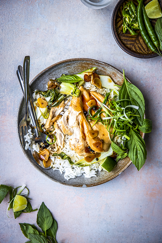 Quick Adobo Chicken with Greens | DonalSkehan.com