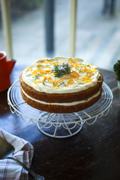 Carrot & Courgette Cake with Rosemary & Orange Crème Fraiche
