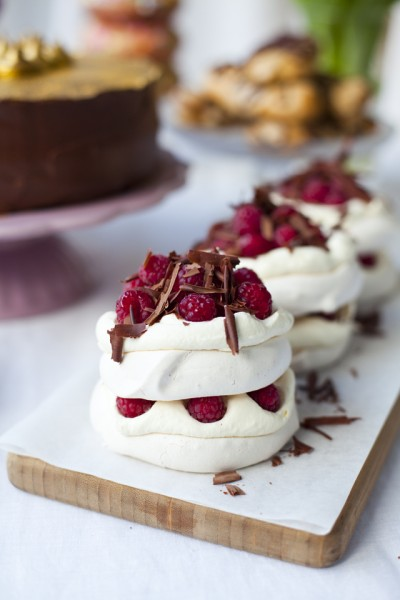 Raspberry and Dark Chocolate Mini Pavlova Stacks