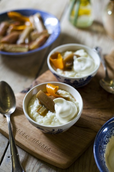 Rhubarb and Orange Rice Pudding