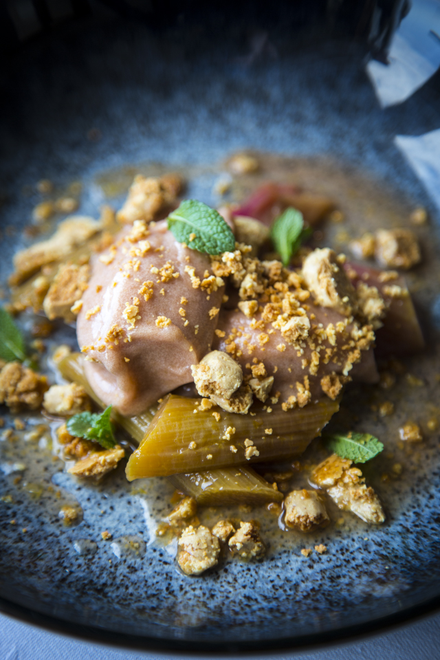 Baked Rhubarb with Roast White Chocolate & Rhubarb Sorbet | DonalSkehan.com, A very sophisticated take on rhubarb crumble & ice-cream.