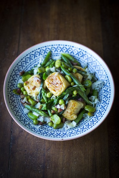 Gnudi with Broad Beans and White Asparagus