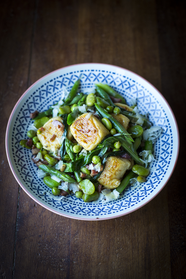 Gnudi with Broad Beans and White Asparagus | DonalSkehan.com, A real showstopper of a dish!