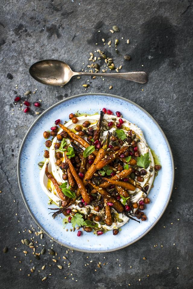 Sticky Roast Carrots & Chickpea Salad | DonalSkehan.com, Sticky roast carrots & chickpeas with taghourt (tahini and yoghurt), pomegranate & toasted seeds.