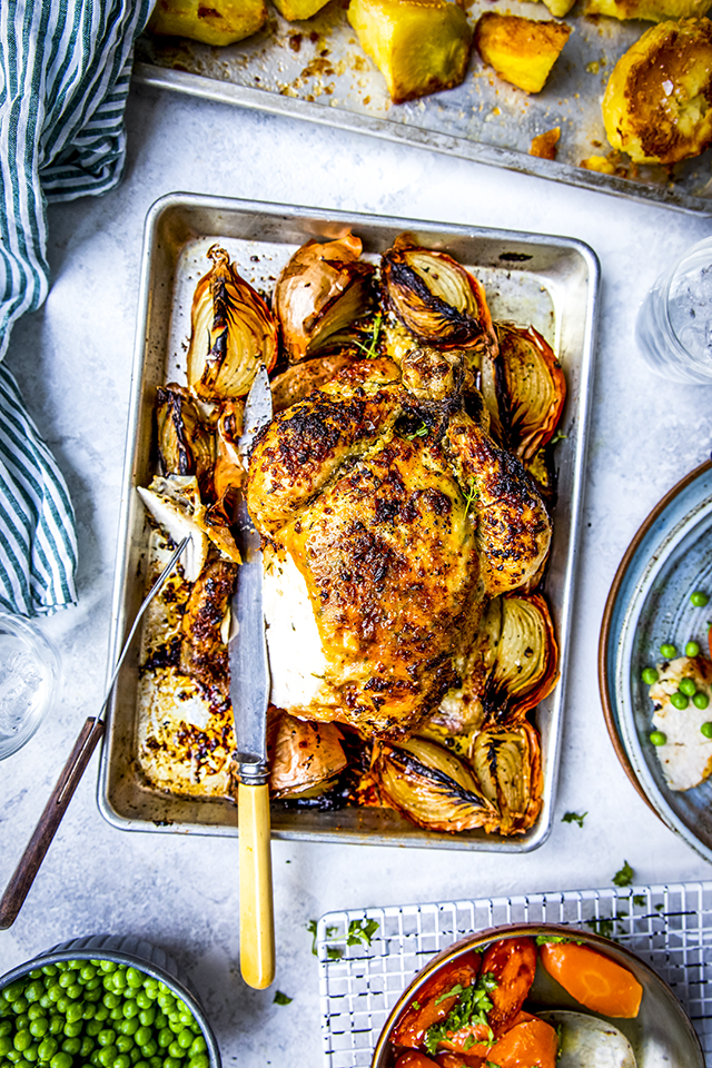 Garlic & Thyme Butter Roast Chicken with Pan Sauce | DonalSkehan.com