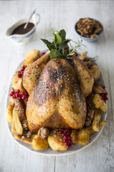 Roast Turkey with Orange & Thyme Butter & Festive Stuffing