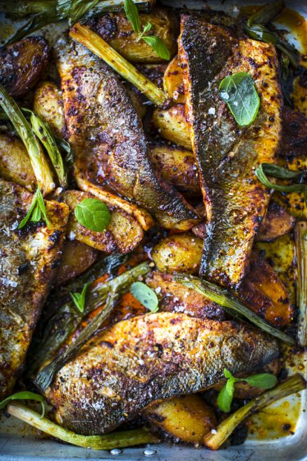 Harissa Baked Fish with Baby Potatoes, Tomatoes & Mint Salsa | DonalSkehan.com, Perfect as a spring/summer supper!