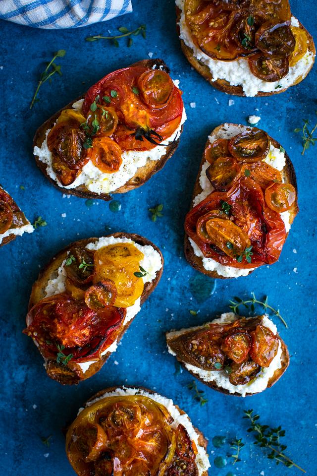 Tomato Ricotta & Thyme Tartines | DonalSkehan.com, Spectacular summer starter.