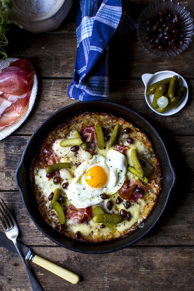 Swiss Style Rosti Potato Cake | DonalSkehan.com, Comforting and delicious, this quick one pan rosti recipe makes a great wintry dinner.