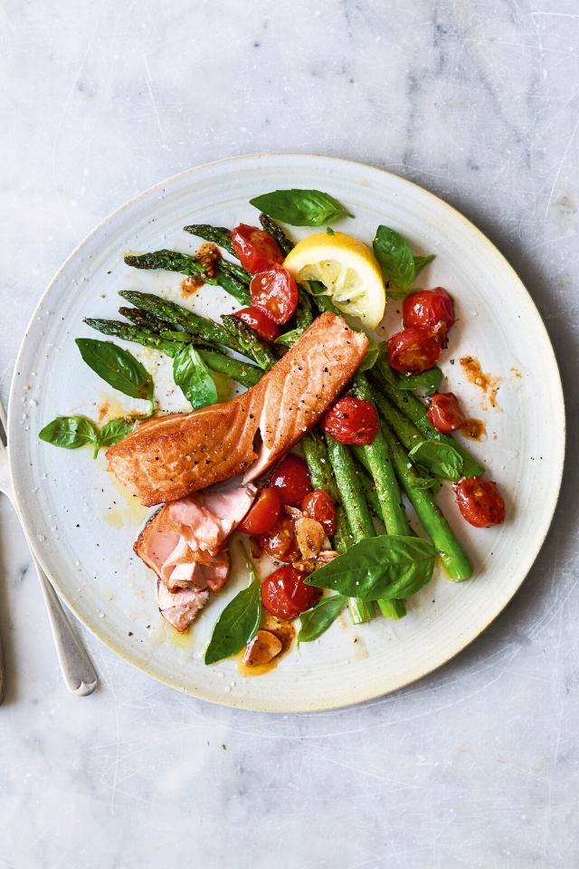 Crispy Salmon, Asparagus and Cherry Tomato Sauce | DonalSkehan.com