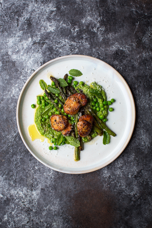 Scallops with Green Peas and Asparagus | DonalSkehan.com