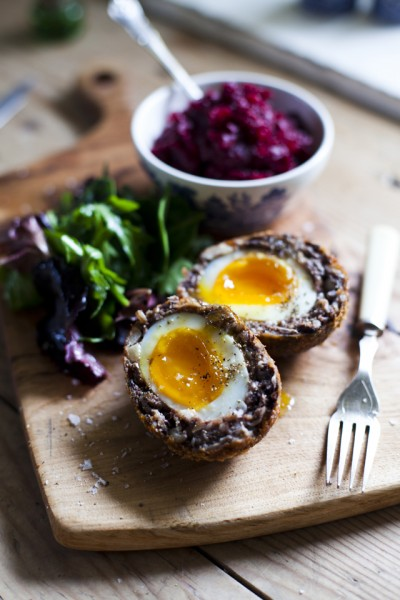 Black Pudding Scotch Eggs with Beetroot Relish