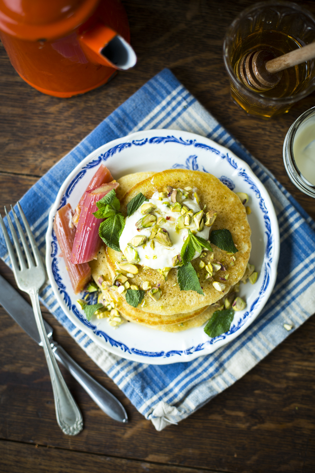 Semolina Pancakes with Slow Roasted Rhubarb | DonalSkehan.com, A vibrant and fresh take on classic pancakes.