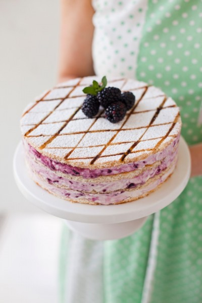 Blackberry Swirl Marshmallow Gateau