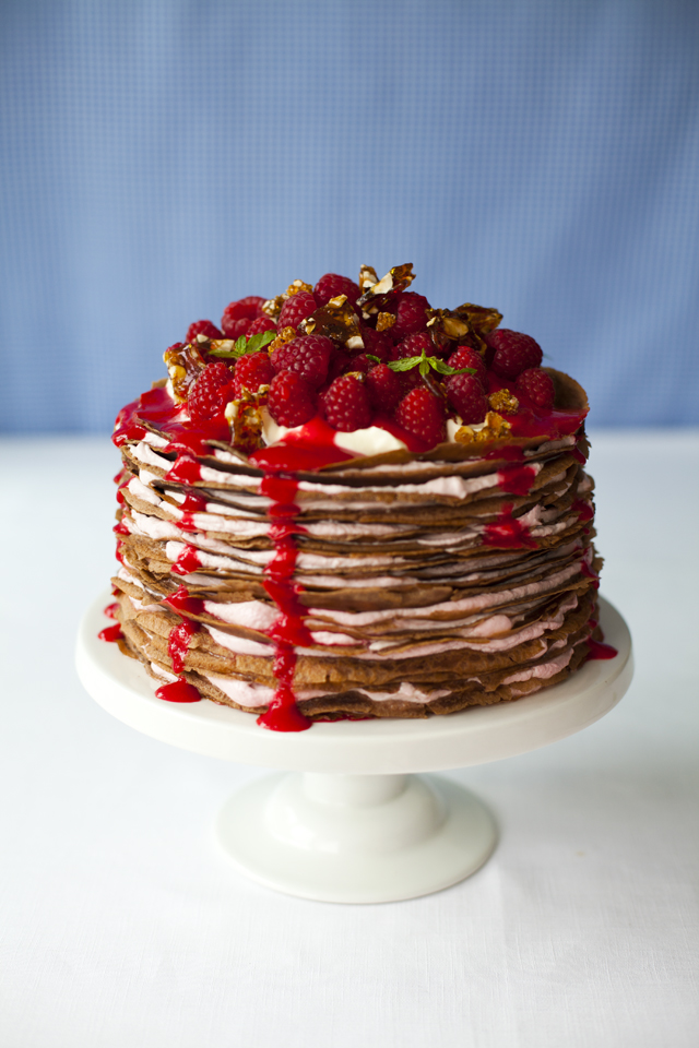 Raspberry & Chocolate Crepeathon Cake | DonalSkehan.com, This cake won't fail to impress, especially when guests see the stunning layers inside.