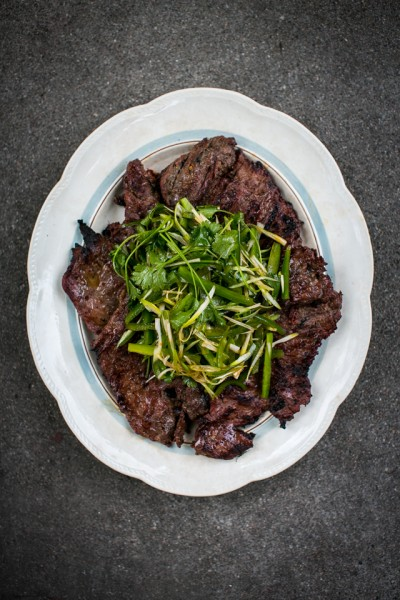 Soy Ginger BBQ Steak with Sesame Coriander Salad