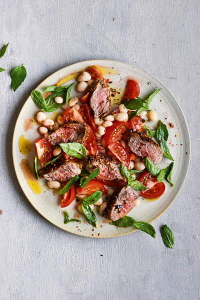 Spice-crusted Lamb with White Bean & Tomato Salad