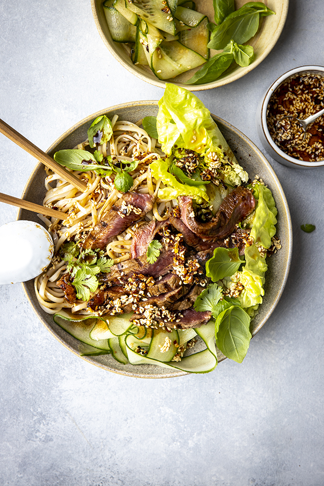 DIY Spicy Soy Steak Noodle Bowls | DonalSkehan.com