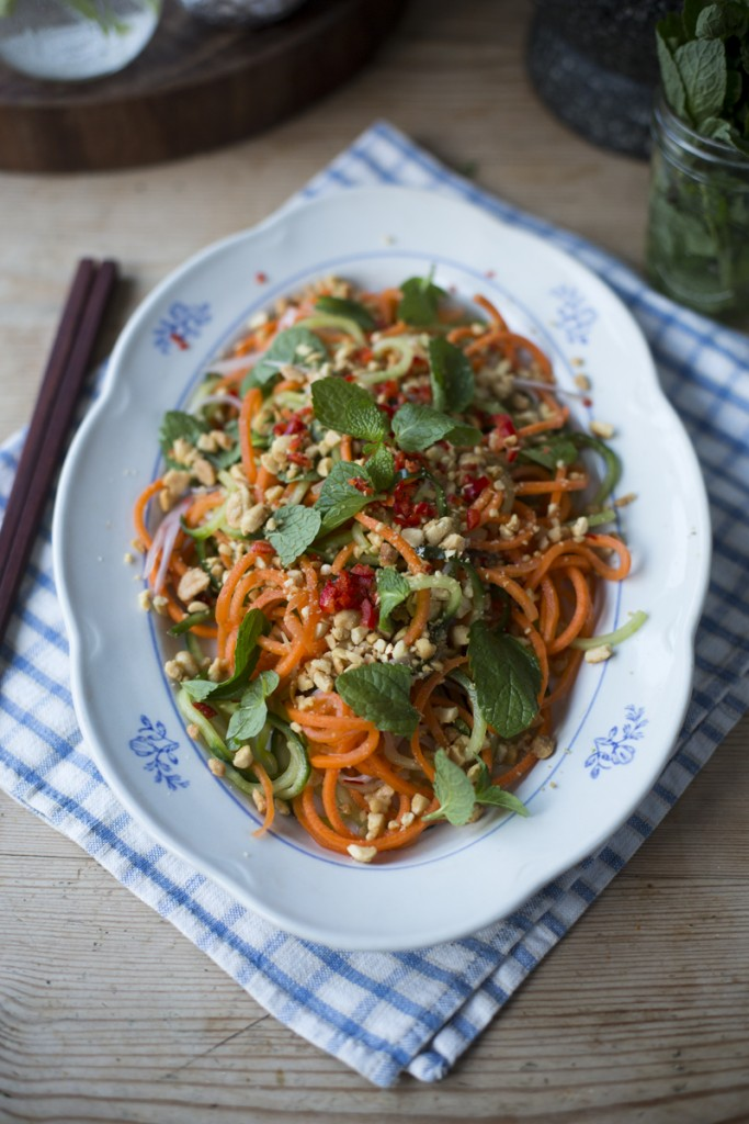 Crunchy Cucumber Spiralizer Salad | DonalSkehan.com, A fun, healthy and fresh salad infused with the flavours Asia!