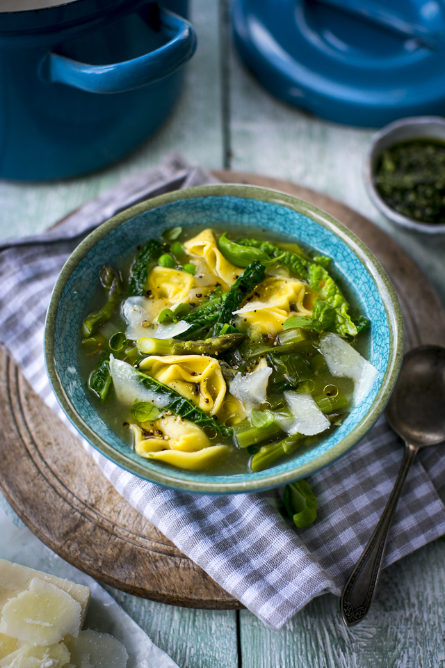 Tortelloni Spring Green Drop Stew | DonalSkehan.com, A 15 minute wonder you'll find yourself making again and again.