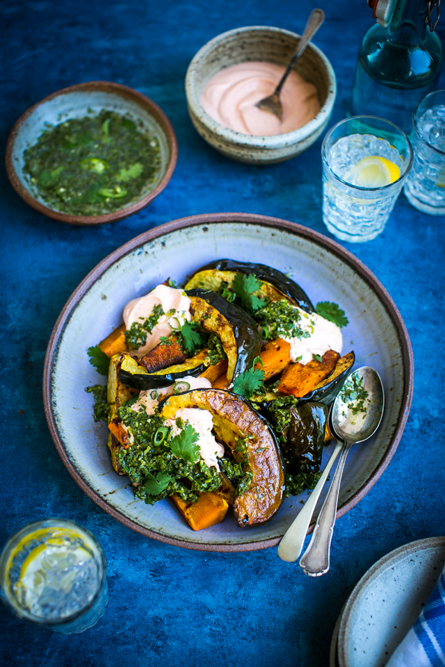 Roast Squash Platter with Spiced Herb Dressing | DonalSkehan.com, A simple vegetarian meal with little preparation but packed with flavour.