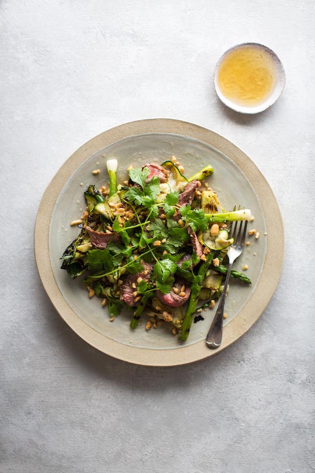 Steak with Blistered Vegetables & Fish Sauce Dressing | DonalSkehan.com