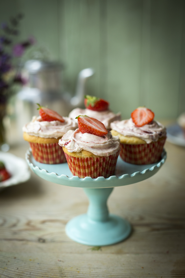 Strawberries & Cream Cupcakes | DonalSkehan.com, Perfect summer treat.