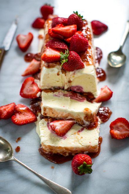Strawberry Semi Freddo | DonalSkehan.com, The perfect make ahead dessert.