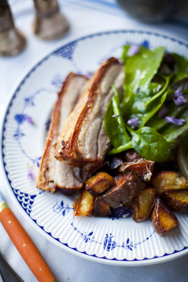 Crispy Pork Belly with Roast Potatoes and Salad Greens | DonalSkehan.com, A real treat, well worth trying!