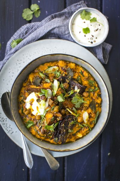 Indian Dal with Roast Sweet Potatoes, Red Onion & Chickpeas