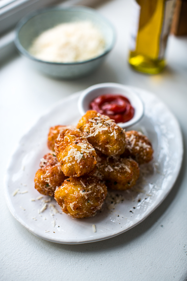 Truffle & Parmesan Tater Tots | DonalSkehan.com, A grown up version of a childhood snack.
