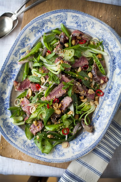 Griddled Beef & Mint Salad with Toasted Rice & Peanuts