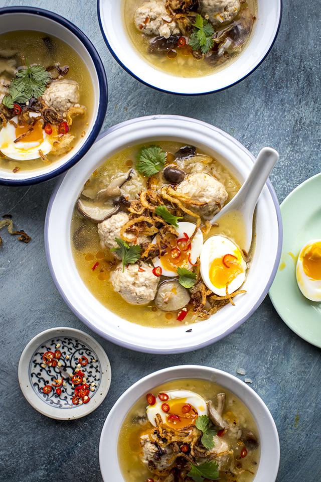 Thai Style Chicken & Shiitake Jok | DonalSkehan.com