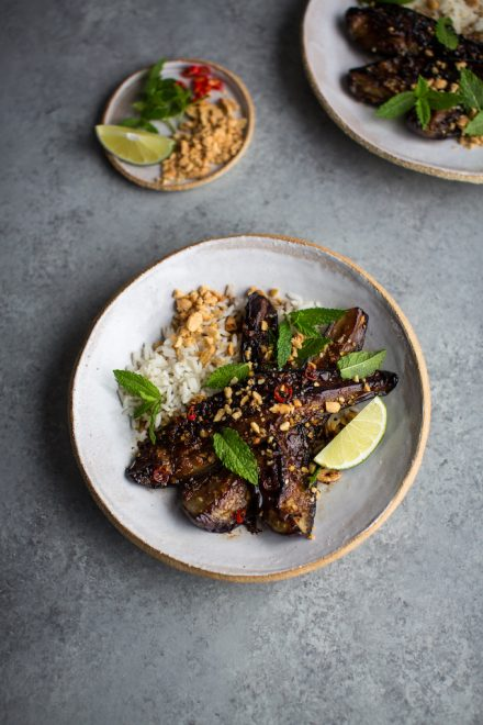 Thai Style Roast Aubergines with Mint and Jasmine Rice | DonalSkehan.com