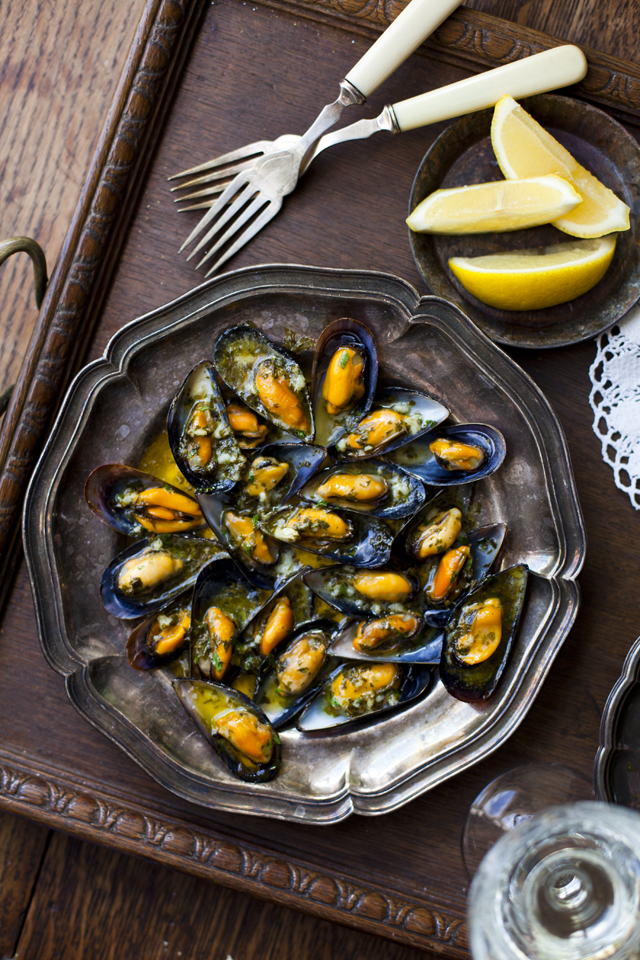 Stuffed Mussels with Garlic | DonalSkehan.com, Best enjoyed with crusty bread on a warm summer's evening!