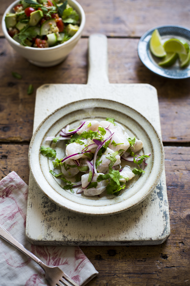 Tiger's Milk Sea Bass Ceviche with Quinoa Salad | DonalSkehan.com, A fresh and vibrant traditional recipe from South America.