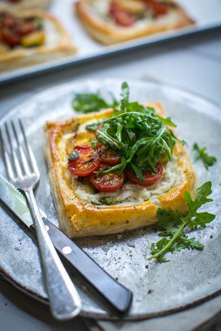 Tomato & Ricotta Puff Pastry Tarts | DonalSkehan.com, Really tasty summer starter.