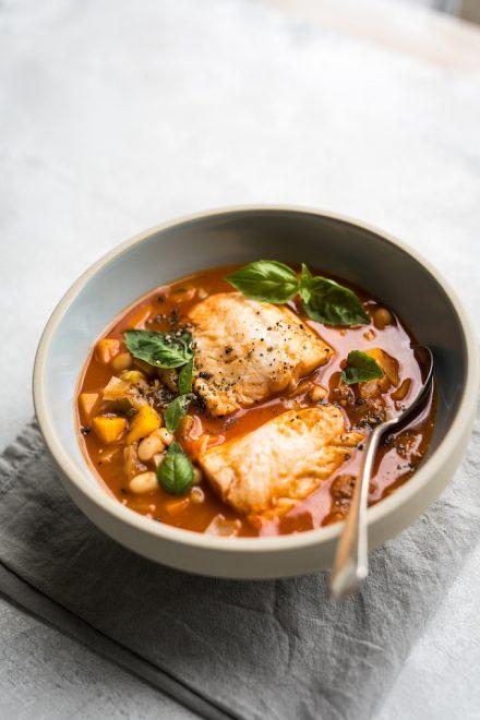 One-pan Tomato & Bean Fish Chowder | DonalSkehan.com