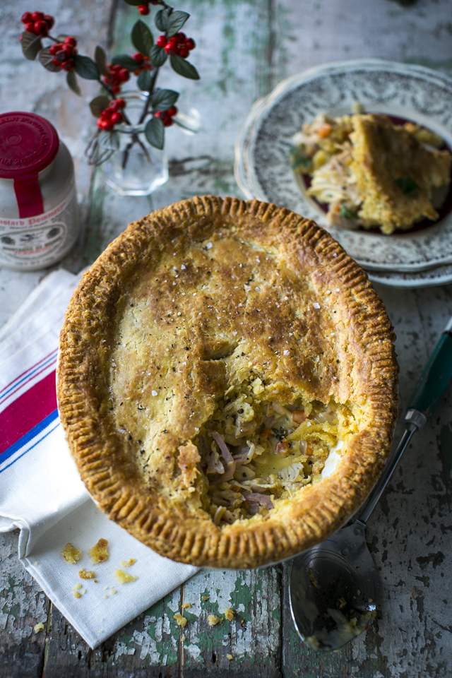 Turkey & Ham Pie with a Cheddar Rough Puff Pastry | DonalSkehan.com, A great way to use up Christmas leftovers but great all year round too!