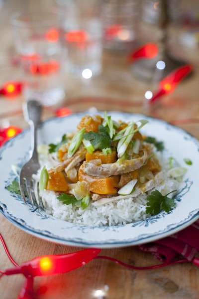 Leftover Turkey and Squash Thai Green Curry