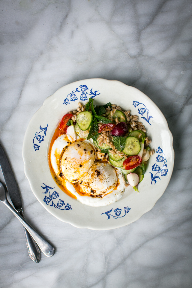 Turkish Egg Grain Salad | DonalSkehan.com, Great weekend brunch worth a try!