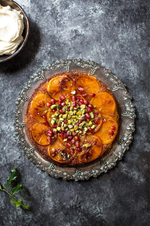 Winter Citrus Polenta Cake with Pomegranate & Rose Mascarpone | DonalSkehan.com