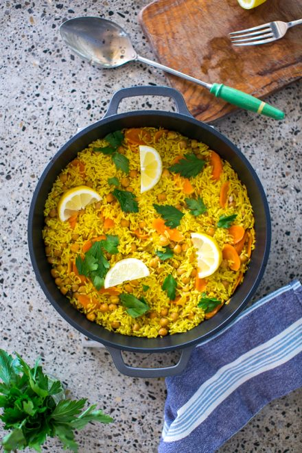 Carrot & Cumin Pilaf Rice | DonalSkehan.com, A vegetarian baked rice dish humming with spice!