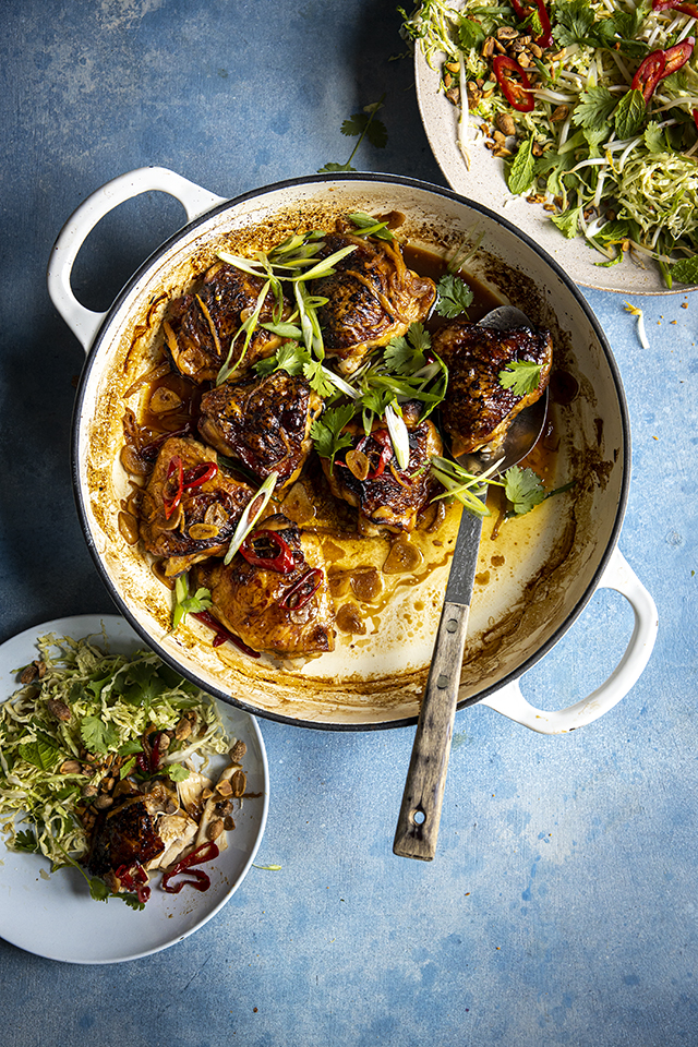 Vietnamese Caramelised Chicken Thighs with Spicy Cabbage Salad | DonalSkehan.com