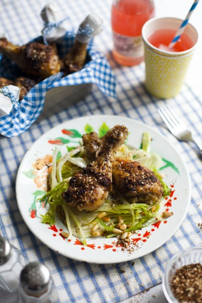 Za'atar Chicken Drumsticks with Shaved Fennel Salad