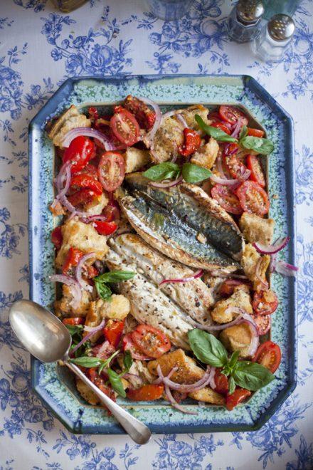 Mediterranean Mackerel with a Tomato Panzanella Salad | DonalSkehan.com, Delicious summer salad!