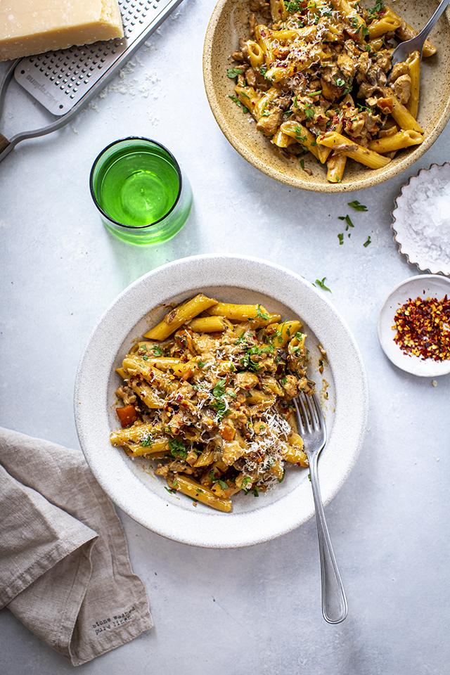 Porcini Chicken Ragu with Fresh Penne | DonalSkehan.com