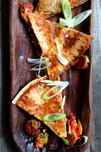 Chorizo and Spring Onion Quesadillas